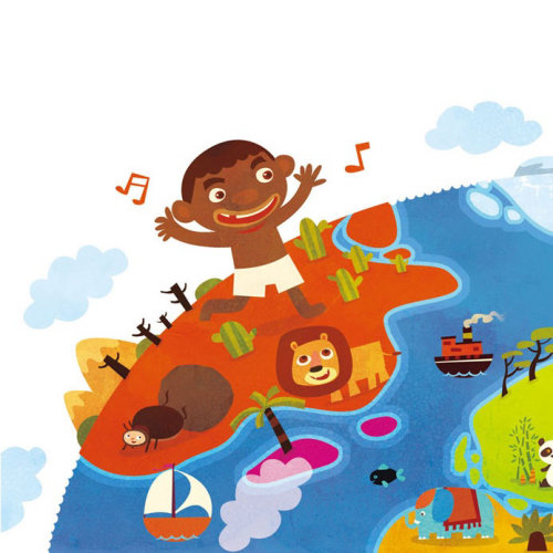 Children Illustration music party on island