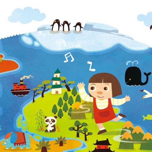 Children Illustration maps baby girl dancing