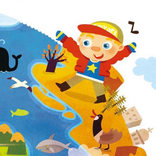 Children Illustration boy on an island