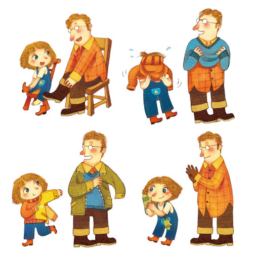 Children Illustration collage of baby girl with father