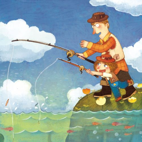 Children Illustration father girl fishing