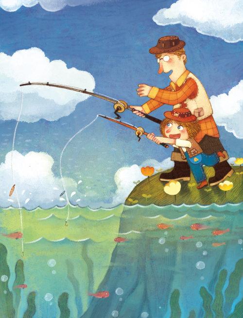 Children Illustration father girl fishing