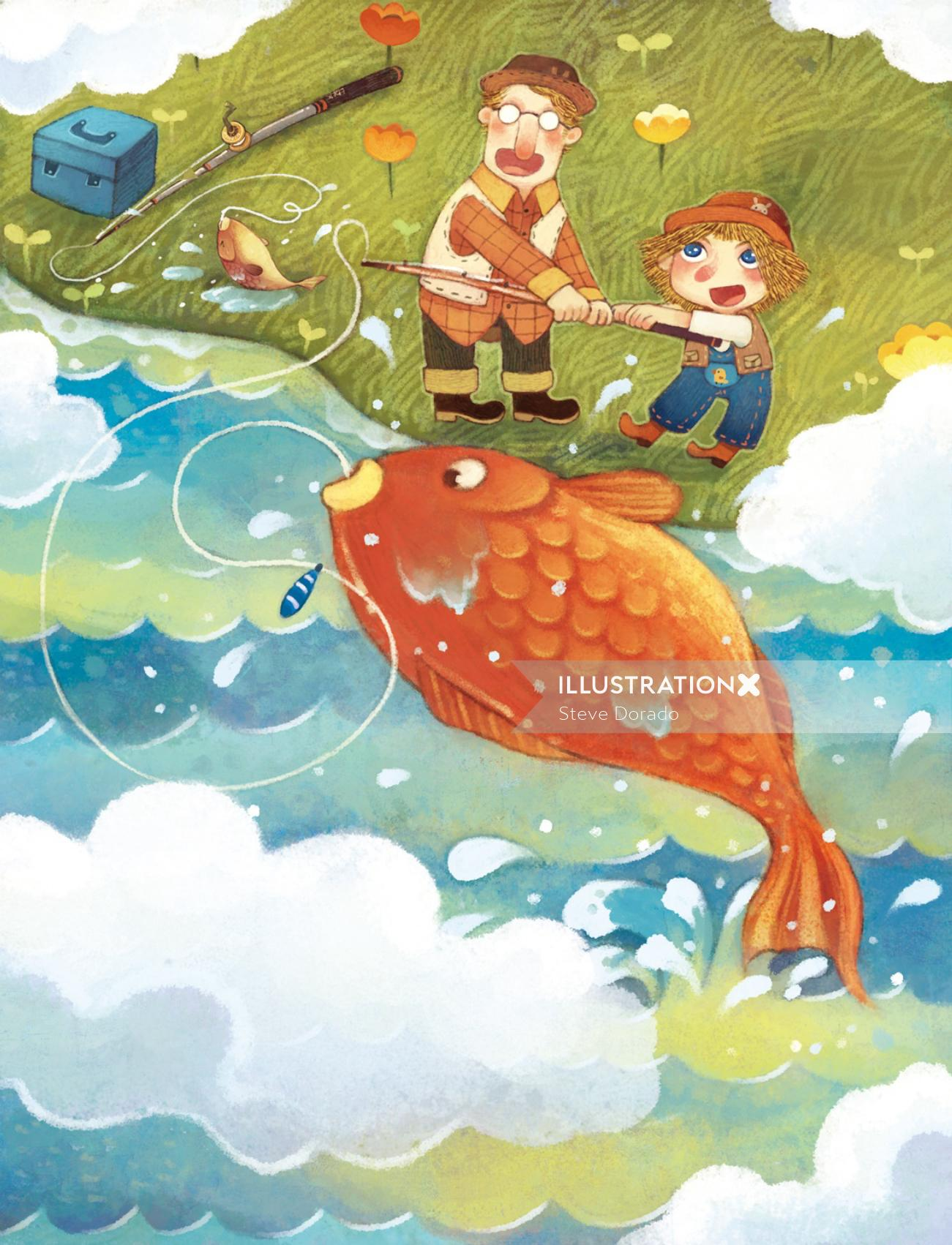 Children Illustration catching big fish