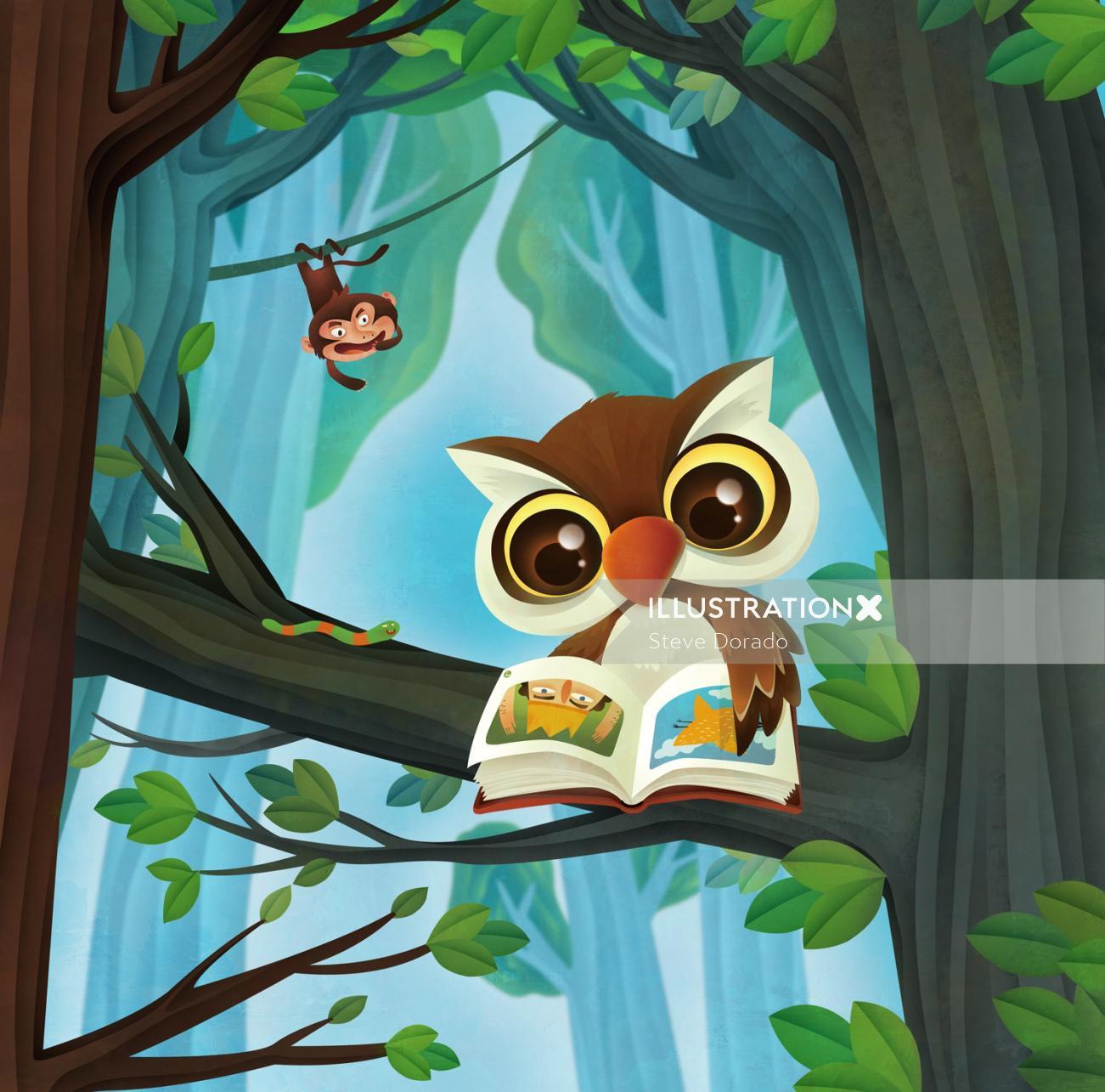 Comic owl illustration by Steve Dorado