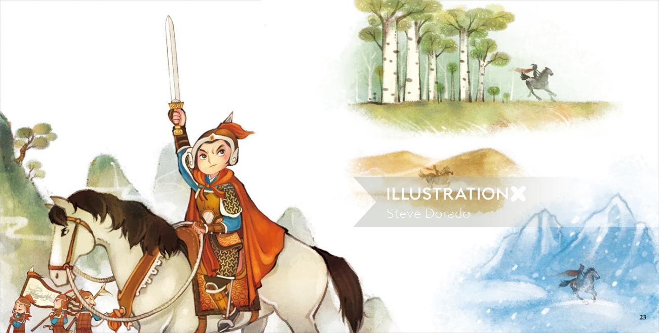 Children Illustration prince in the jungle