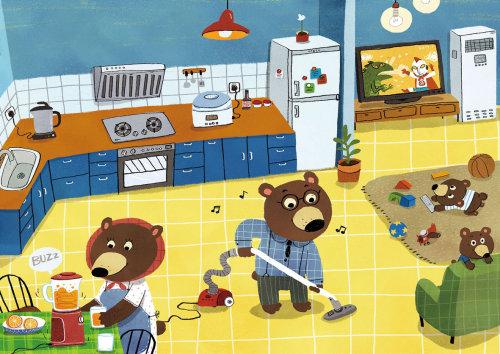 Children Illustration bears cleaning kitchen