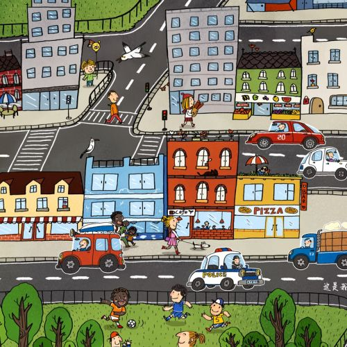 Children illustration traffic in city