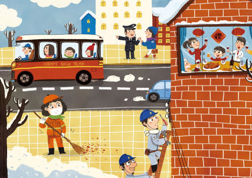 Children Illustration people cleaning