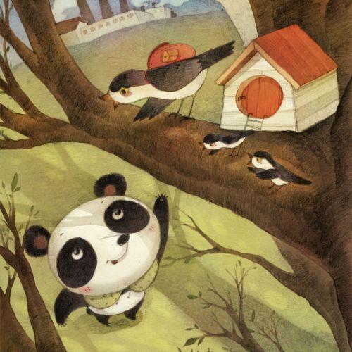 cartoon panda bear calling birds sitting on a tall tree