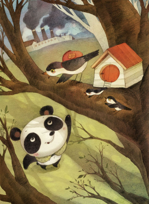 cartoon panda bear calling birds sitting on a tall tree