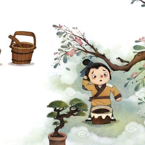 Children Illustration plucking flowers