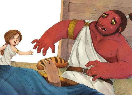 Children Illustration stealing bread