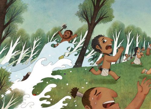 Children Illustration people running from water