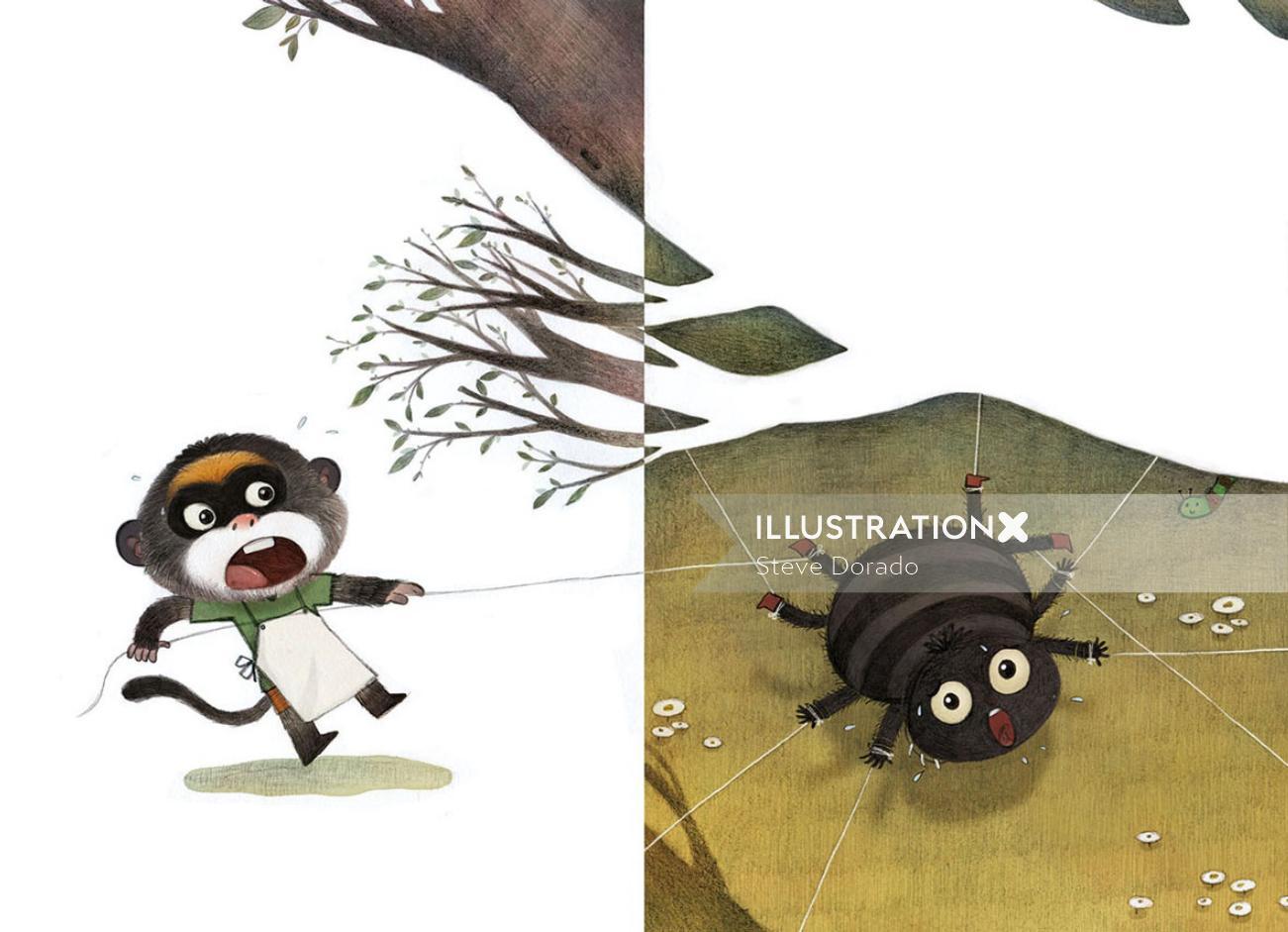 Children Illustration monkey and spider