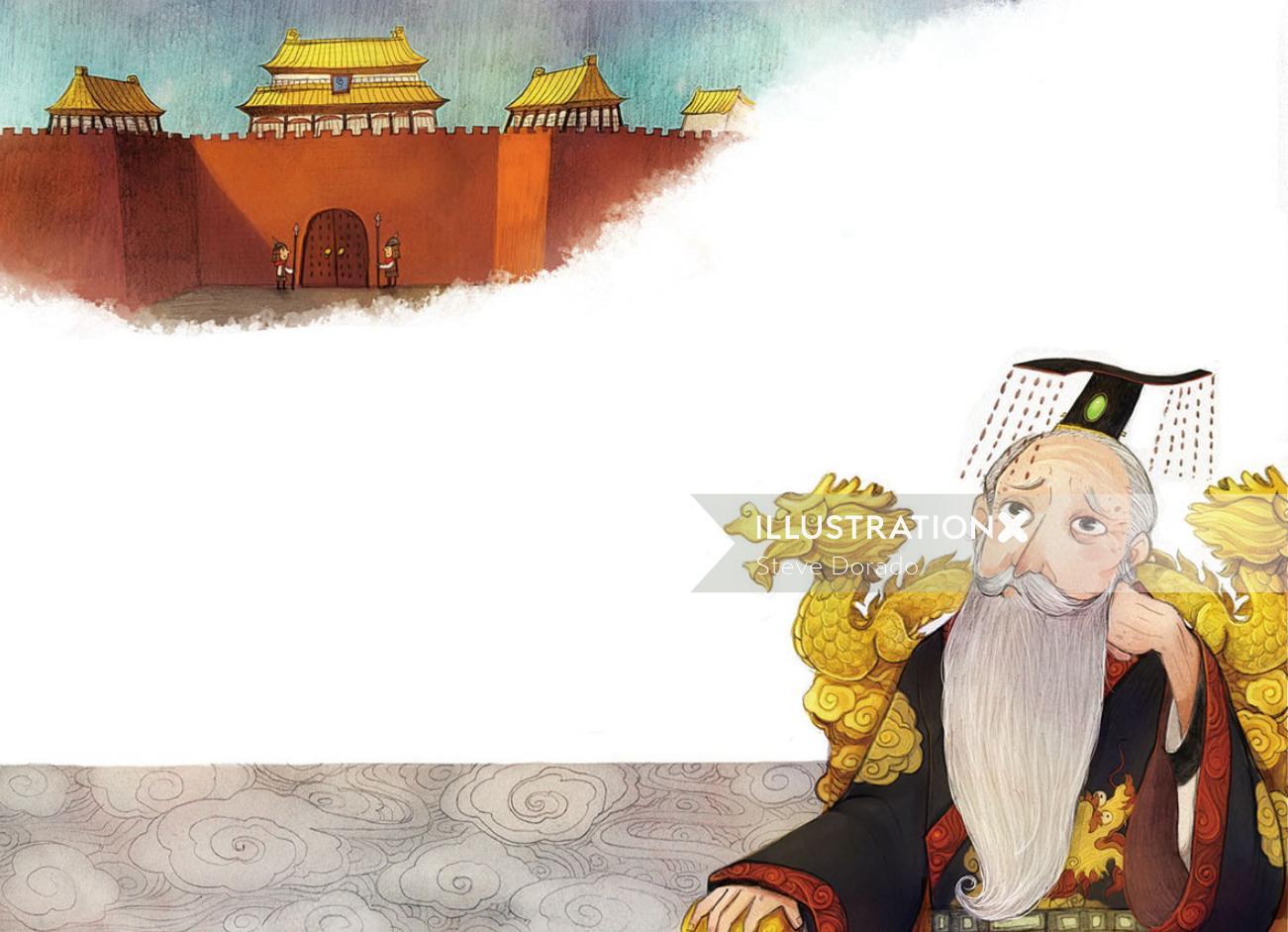 Children Illustration chinese master on dragon chair