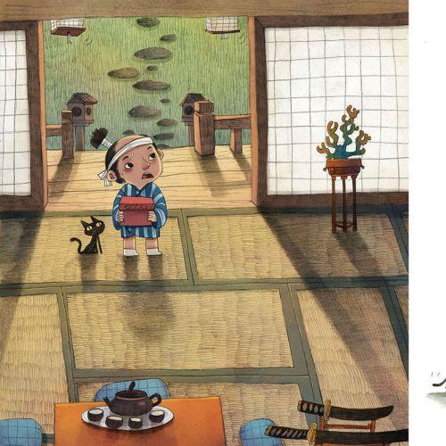 Children Illustration girl with cat