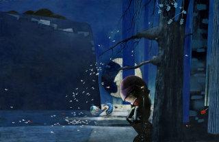 fish, man, sad, sadness, moon, trees, night, dark