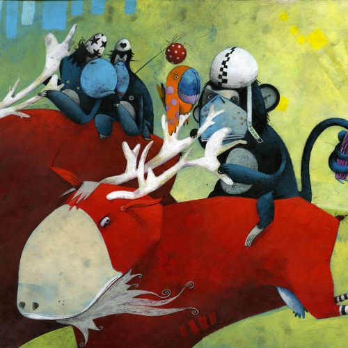 Animals, apes, monkey, bird, running