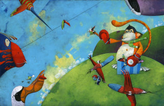 birds, flying, ape, insects, boxing gloves