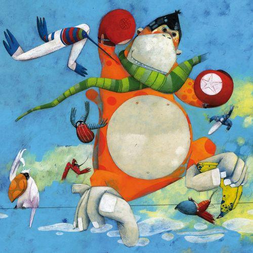 Birds, ape, monkey, sky, boxing gloves