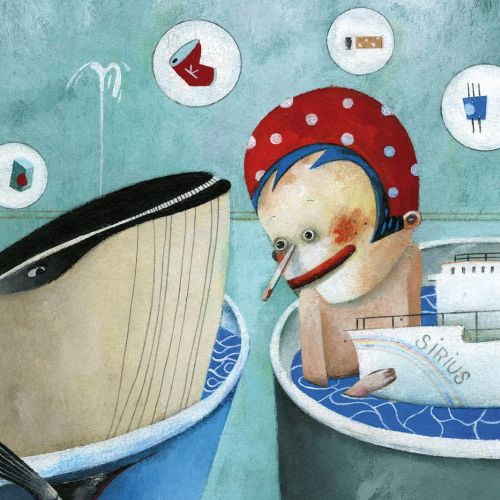Child, whale, bath, boat