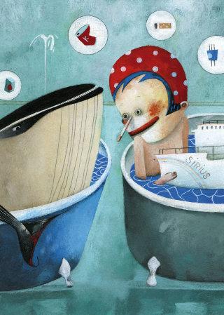 Child, whale, bath, boat