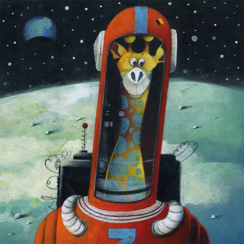moon, astronaut, helmet, giraffe, earth,