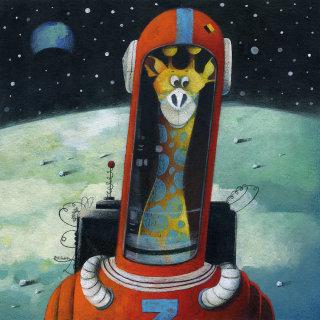 moon, astronaut, helmet, giraffe, earth,