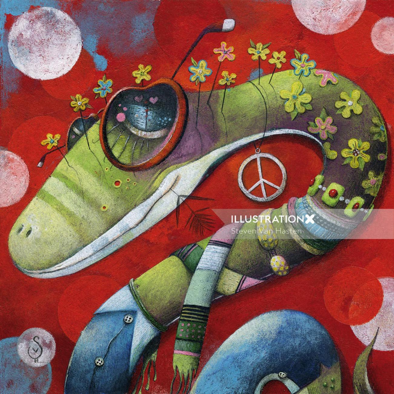 snake, hippie, sixties, peace, flowers, flower power,psychedelic