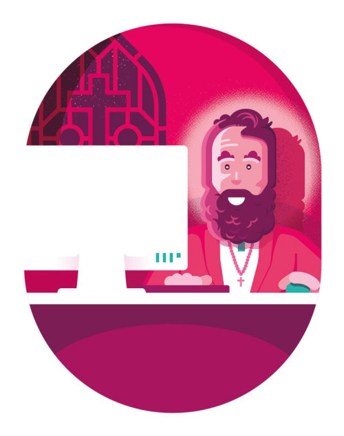 Illustration of a religious man using computer