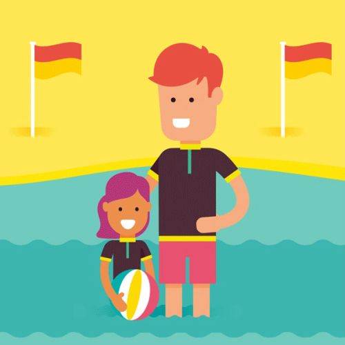Family on beach gif animation