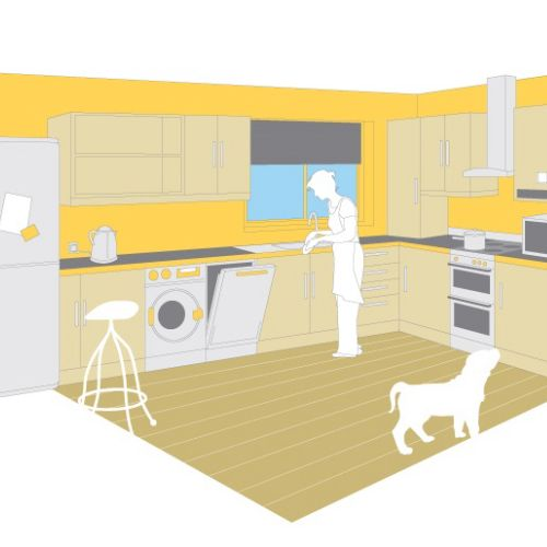Technical illustration of kitchen