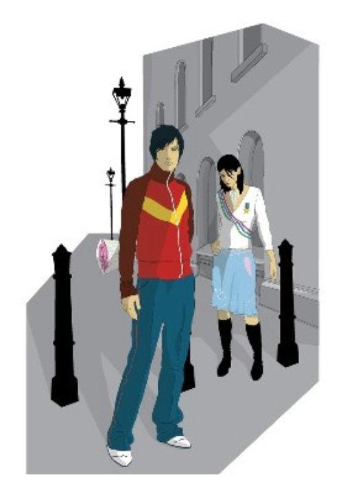 Retrol couple in street