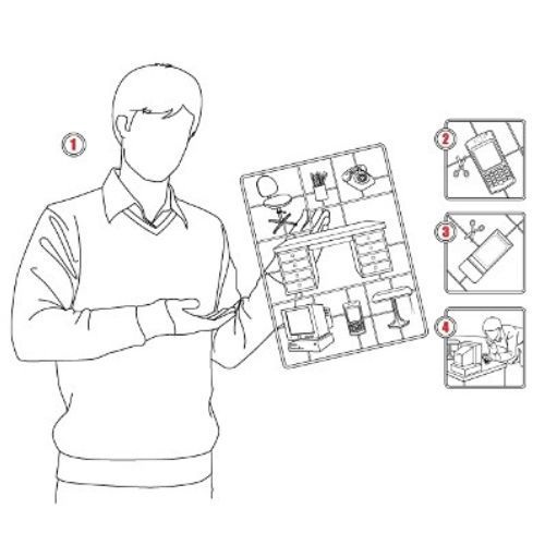 Key line art drawing of a man with a chart in his hand