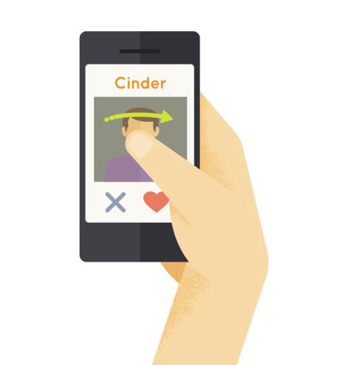 Graphic design of Tinder - Mobile swiping