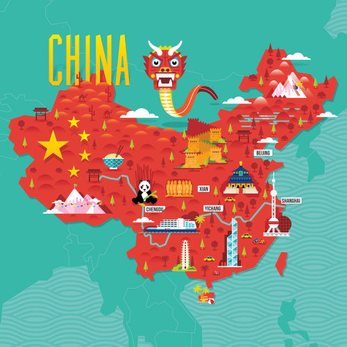 China Tourist Map illustration