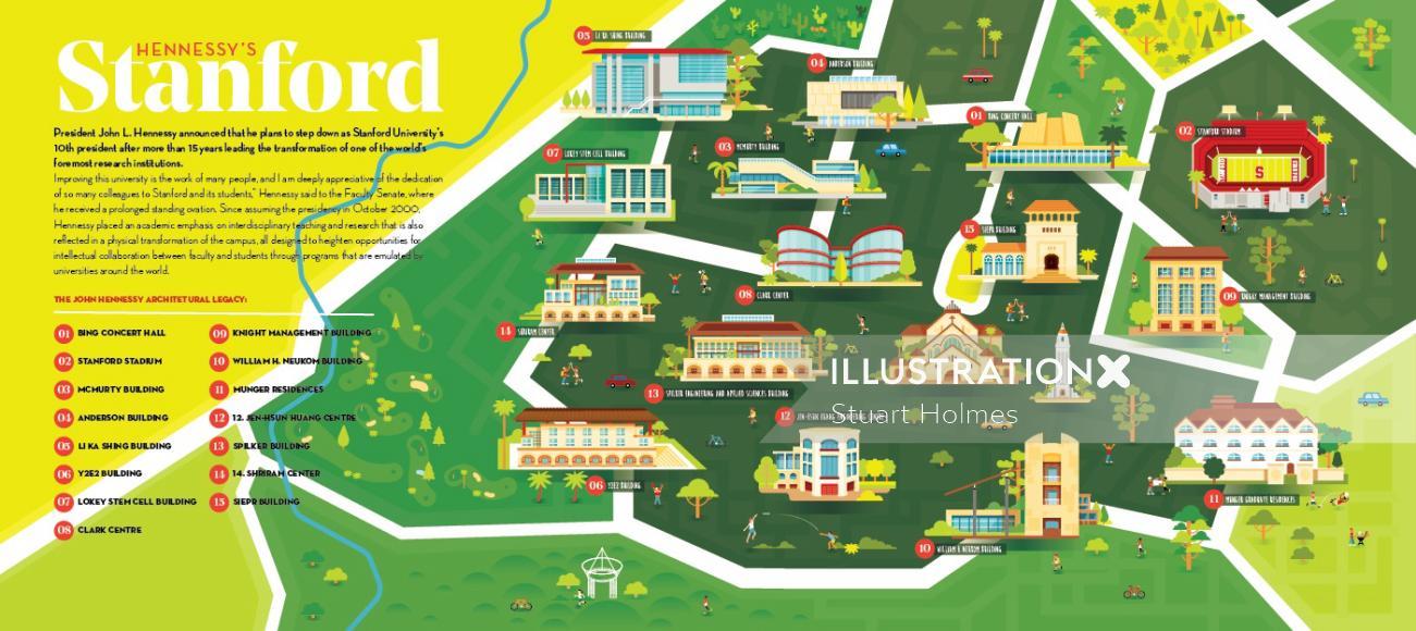 Architectural map illustration