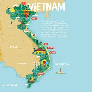 Vietnam map illustration by Stuart Holmes