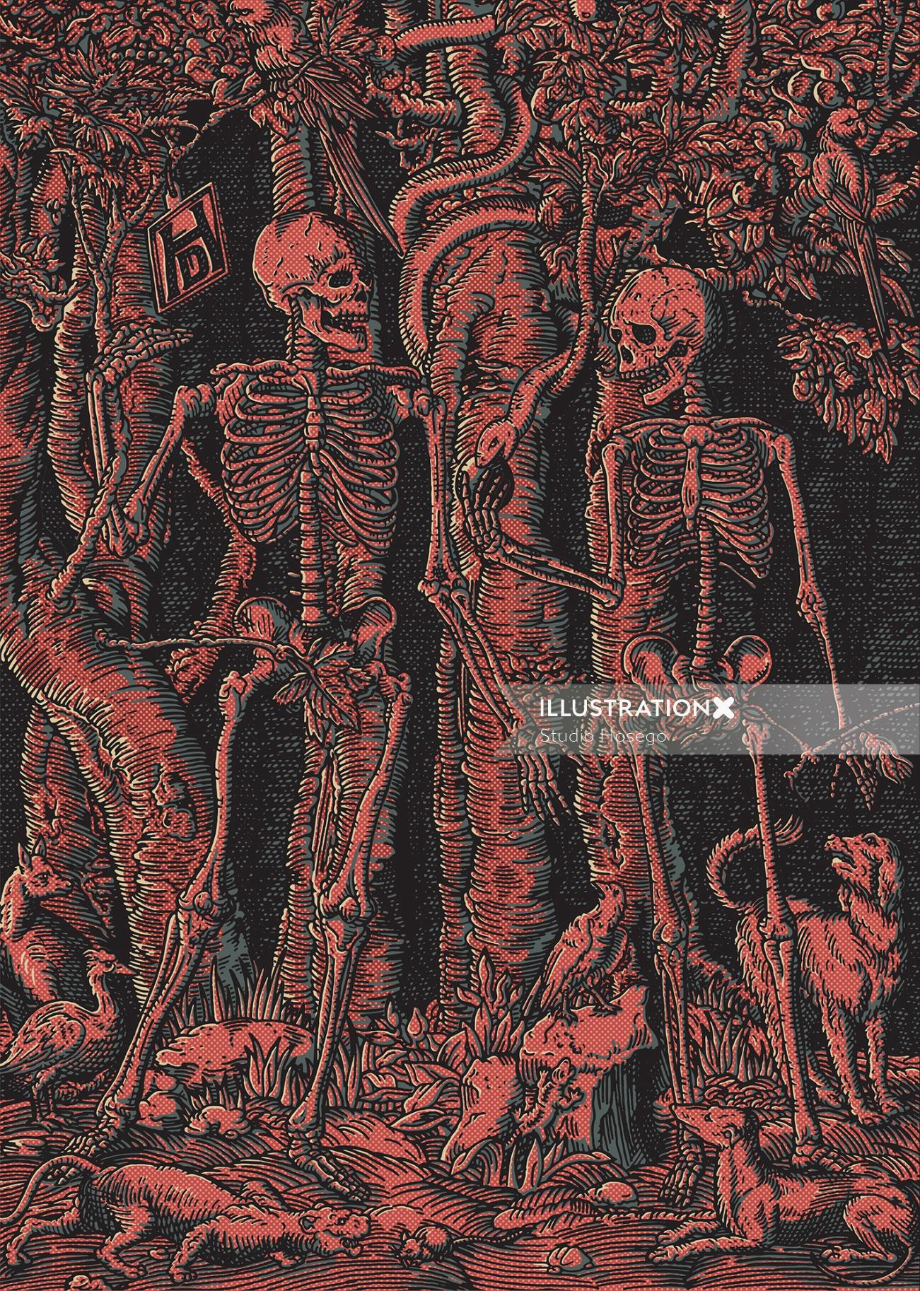 Jake and dinos brothers skull illustration