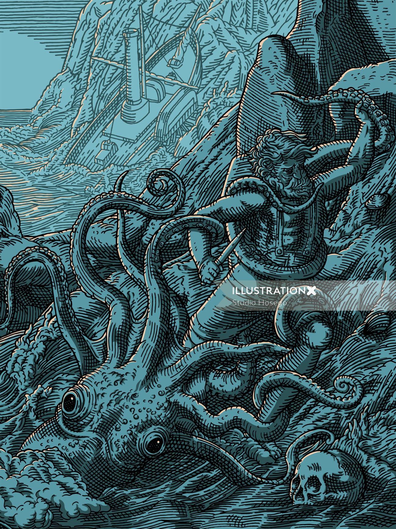 Historical illustration of kraken battle
