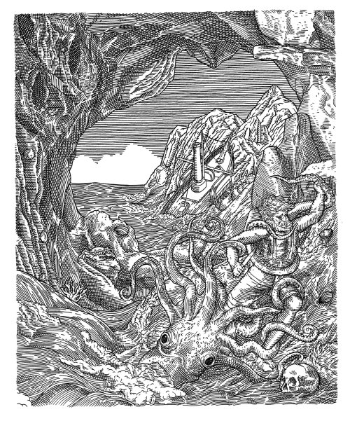 Gilliatt battles the giant octopus black and white illustration