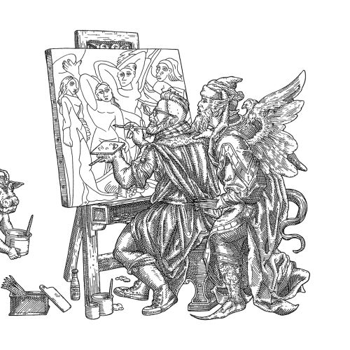 Black and white art of painter