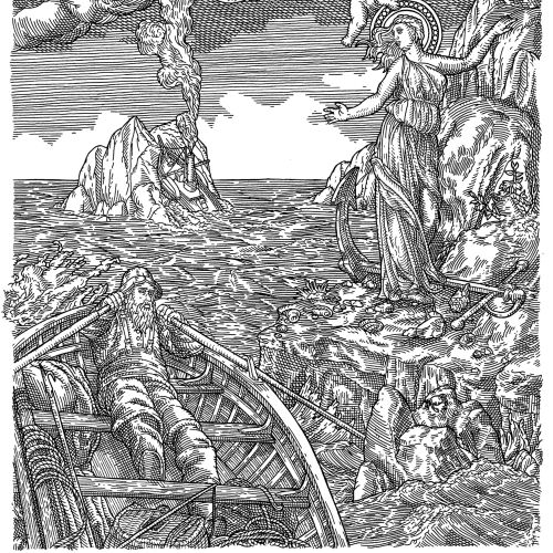 Black and white illustration for My Toilers Of The Sea series