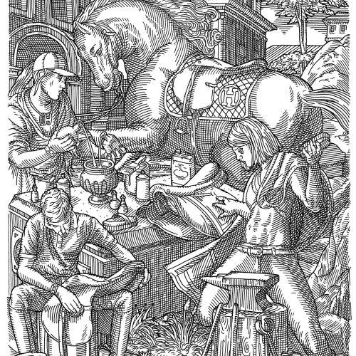 Sketch art of saddle making for horse
