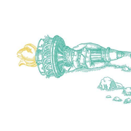 Graphic design of hand of statue of liberty broken