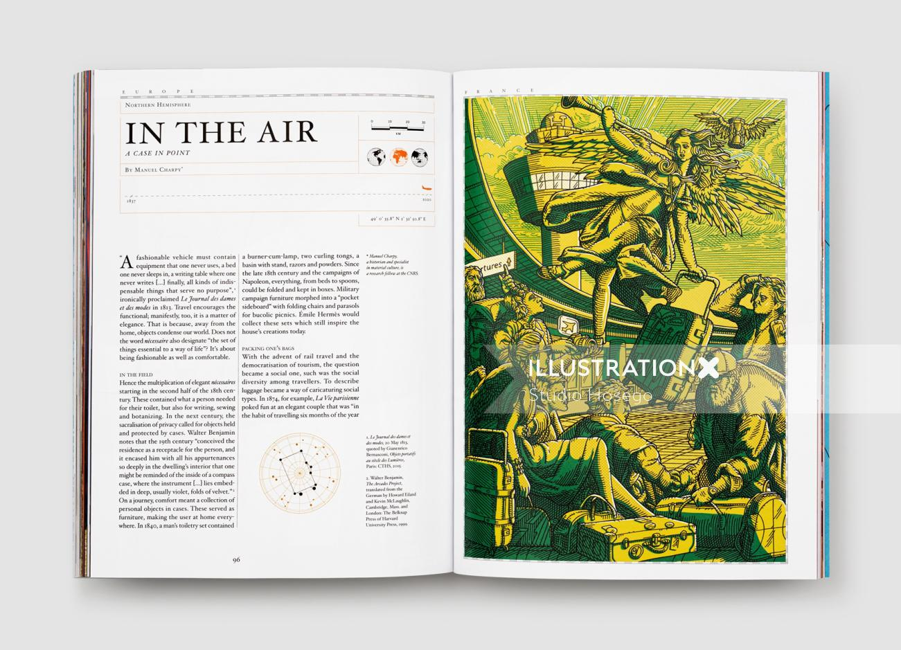 Editorial illustration of in the air