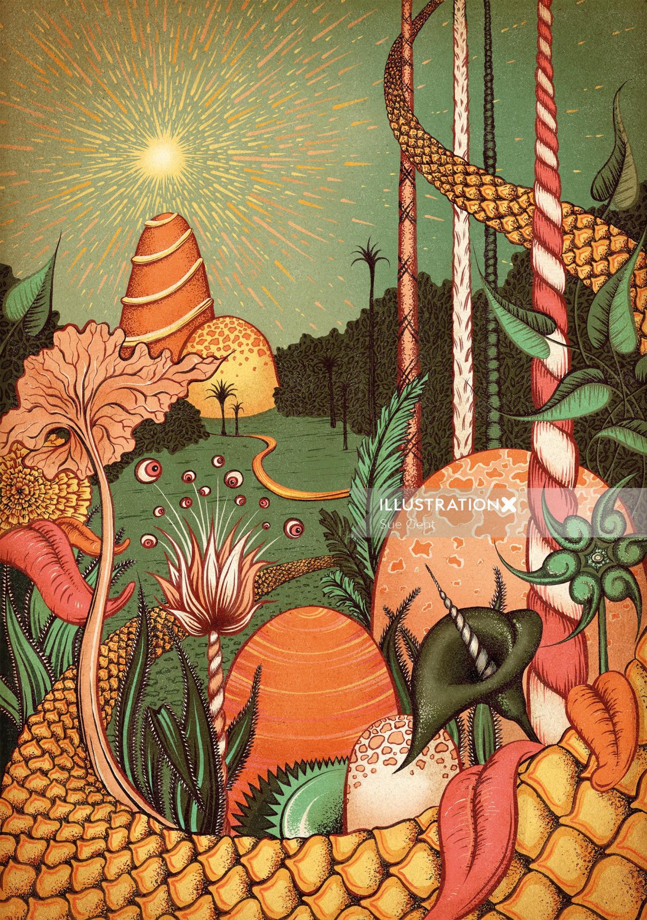Nature editorial illustration