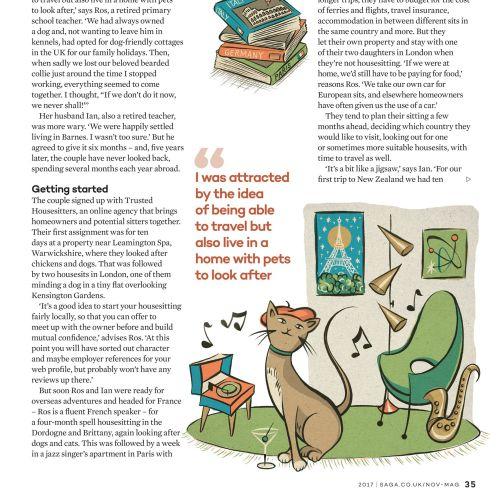 Editorial Hen and cat illustration