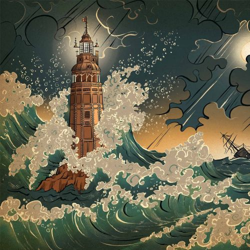 Editorial lighthouse with high waves