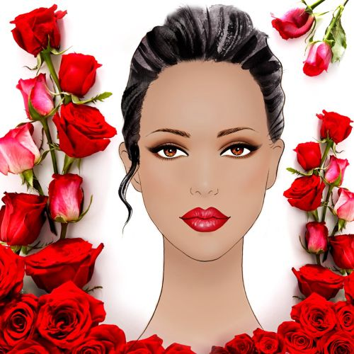Painting of female face with red roses